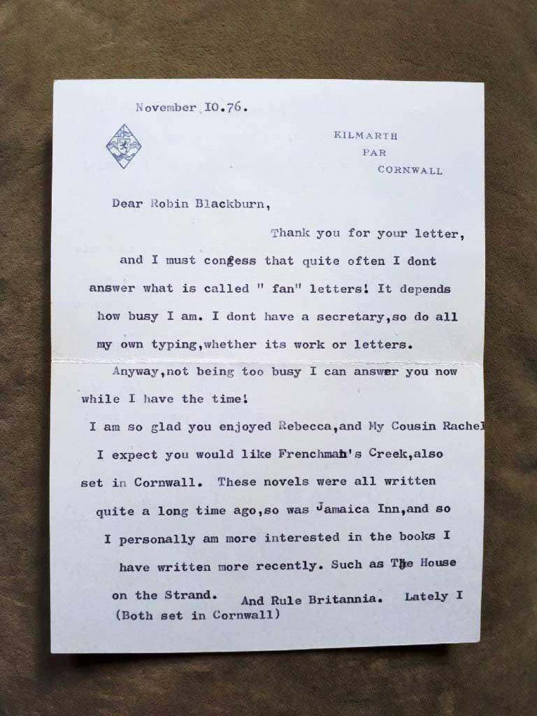Daphne Du Maurier letter to Robin in Grade 6 part 1