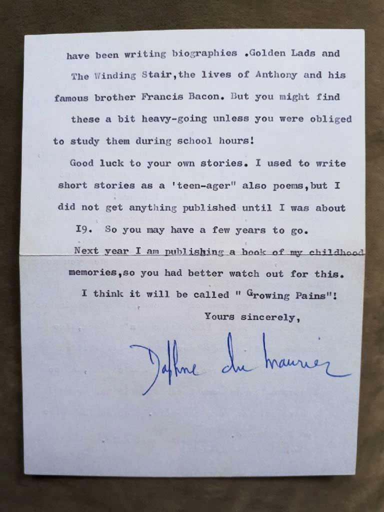 Daphne Du Maurier letter to Robin in Grade 6 part 2